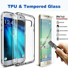 Ultra Thin TPU Gel Case Cover & Tempered Glass for Samsung Galaxy S6 A3 A5 J3 J5