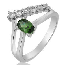 Ring Double Gold Engagement White with Sapphire and Green Cubic Zirconia