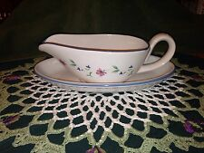 Newcor Blue & White Pattern #6031 Prelude Gravy Boat with Underplate