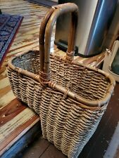 Vintage RATTAN BRAIDED WICKER Stair Step Basket Staircase COTTAGE SHABBY CHIC