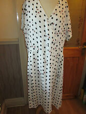 cotton traders spot print cream black dress size 14 brand new with tags
