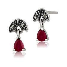 Sterling Silver 0.39ct Ruby & Marcasite July Stud Earrings
