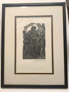 Signed Fritz Eichenberg Print - #399/2000 - Beautifully framed - 1980's