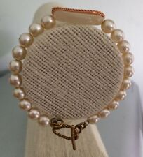 Adult Faux Pearl and Wire Wrapped Agate Oval Memory Wire Bracelet
