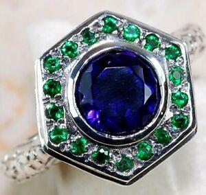 3CT Blue Sapphire & Emerald 925 Sterling Silver Art Deco Ring Jewelry Sz 6 FS3