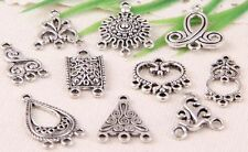 40Pcs Mixed Tibetan Silver Charms Pendants Connectors For Jewelry Craft DIY