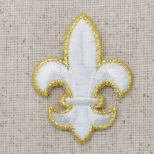 Medium White/Gold Fleur De Lis/Saints Iron on Applique/Embroidered Patch