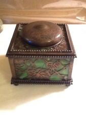 """Vintage Green Glass And Brass Inkwell By The Davis 4"""" X 4"""""""