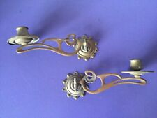 Lovely Pair Copper Art Nouveau Piano Candle Stick Holders. Candelabras