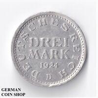 Drei Mark 1924 D - SILBER - Deutsches Reich Weimarer Republik 3 Reichsmark