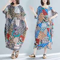 Cotton Linen Summer Women Casual Floral Oversize Kaftan Gypsy Maxi Long Dress