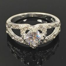Ring 925 Sterling Silver Plated Heart Rhinestone 4 Prong Gift Wedding RRP £19.99