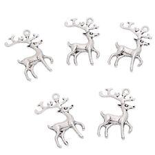5 x Tibetan Silver Reindeer Pendant Charms 36mm