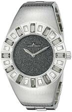 Jacques Lemans 1-1585G Cannes Silver Tone Black Dial Womens Watch w/ Crystals