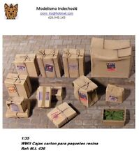 WWII 1/35 Resina cardboard boxes parcels  cajas carton paquetes postales