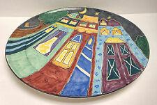 """CJ Niehaus 15"""" Whimsical Modernist Studio Pottery Cityscape Platter!"""