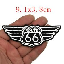 Patch Toppa Route 66 Nera/Bianca 9 cm x 3,8 CM x Giubbotti Gilet Giacche Regalo