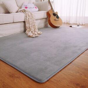 Flannel Memory Foam Solid Bedroom Area Rug Floor Mats Carpet Outdoor Doormat New