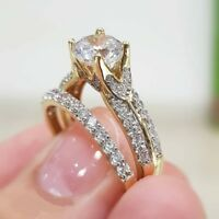 10K Yellow Gold Plated Round Cut Diamond Engagement Bridal Set Wedding Band Ring