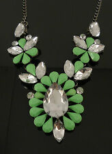 Green Crystal Green Gem Teardrop Statement Fashion Jewellery Necklace