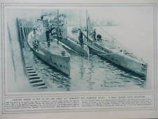 1916 GERMAN U-BOAT SKETCHES; BRITISH FIELD OVENS BAKERY WWI WW1 DOUBLE PAGE
