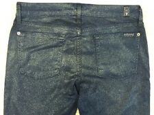 """7 For All Mankind Jeans 29"""" Waist The Skinny Dark Blue Sparkly Metallic Coated"""