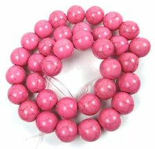 12mm Pink Turquoise Round Beads 15""