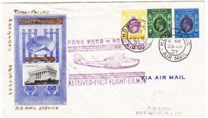 HONG KONG CHINA-SG#127,#128,#129-HONG KONG AIR MAIL 29/AP/37-REGISTERED