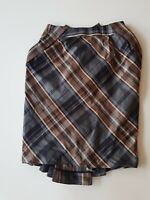 CUE Brown/Blue Check Skirt Satin Size 8