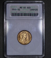 1910 Lincoln Wheat Cent 1C ANACS MS64RD - Undergraded