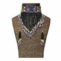 Adult Tribal Beaded Choker Earrings Native American Diamond Multicolored Black
