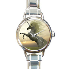 Girls Beautiful Unicorn Bucking Charm Watch Charm Bracelet Analog Quartz Battery