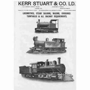 KERR STUART & CO Ltd Stoke on Trent Railway Locomotives - Antique Advert 1909