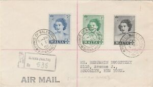 Malta 1950 Sliema  First Day Cover To New York  Princess Of Wales