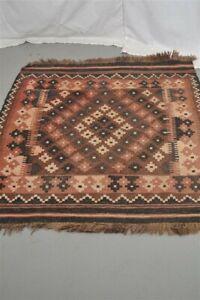 vtg carpet rug flat weave kilim rust black 34x42 lightly worn real oriental