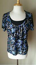 Sag Harbor Petite Women's Work Black Blue Floral Top Blouse XL,2nd 15% off