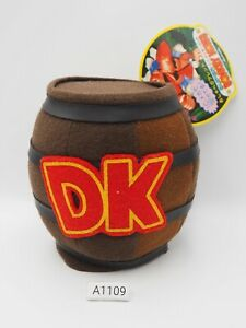 "Super Donkey Kong A1109 DK Barrel Yujin Tomy Plush 5"" TAG Toy Doll Japan"