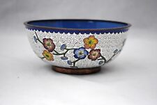 Vintage Chinese Cloisonne Bowl Red Blue Yellow Flowers on White Ground