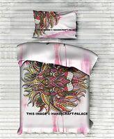 Indian Lion Print White Duvet Cover Hippie Cotton Twin Comforter Set Reversible