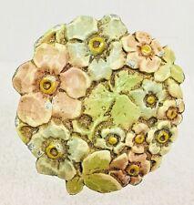 Antique Cast Metal Curtain Tie Back Floral Cluster Pastels Flowers T 28