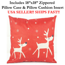 "18x18 18"" RED REINDEER RUDOLPH CHRISTMAS XMAS Zippered Pillow Case & Cushion"