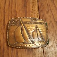 25th Defense The America's Cup Solid Bronze Belt Buckle 1983 -  Providence Mint