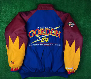 JEFF GORDON DUPONT NASCAR Racing Jacket Logo VTG Y2K 90s Puffer Flames Sz XL