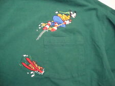 Walt Disney Goofy Skiing Pen Pocket Long Sleeved Cotton Green Shirt Size 2XL