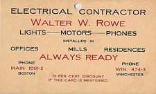 Walter W. Rowe, Electrical Contractor, Winchester MA 1903