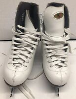 Riedell Model 21 Figure Ice Skates Sport White Leather Size 3 Quest Blades Onyx