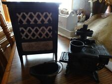 Vintage Cast Iron Doll Kitchen Cook Stove & Hutch with Miniature Food