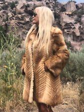 Thick Luxurious Red Fox Fur Coat Size Medium Large Three Quarter Length Ex Cond