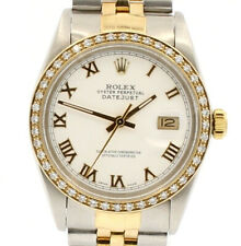 Mens ROLEX Oyster Perpetual Datejust 36mm White Gold Roman Dial Diamond Watch