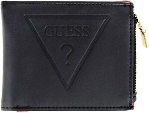 NEW GUESS Mens Wallet Black Red Logo Bifold with Coin Pocket